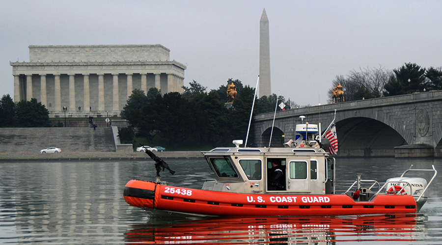 Coast Guard Maritime Safety and Security Team members patrol the waters of the Potomac River in support of the State of the Union address response Saturday, Jan. 9, 2016. Maritime Safety and Security Team members from Georgia and Massachusetts deployed to Washington to provide shoreside and maritime protection with one major objective – to guard against an attack. (U.S. Coast Guard photo by Petty Officer 3rd Class Lisa Ferdinando)
