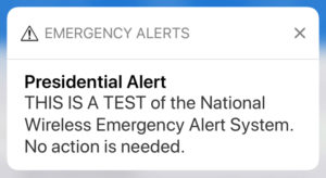 Nationwide Emergency Alert Test planned for Oct. 3; test messages will be sent to cell phones, TV and radio