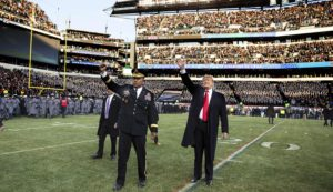 NATION – President Trump Waves to Army Navy Fans at Philadelphia